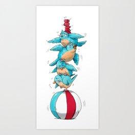 Blue Birds Balancing Boiling Beverages on a Beach Ball Art Print