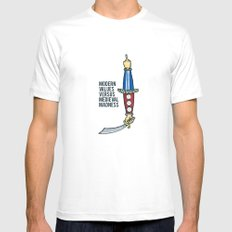 Modern Values versus Medieval Madness White MEDIUM Mens Fitted Tee