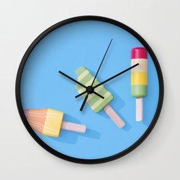 Three Ice Lollies on Blue Wall Clock