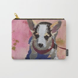 Corgi Puppy Art Print |Welsh Corgi Dog Art | Cute Corgis Watercolor Print - Terracotta Carry-All Pouch