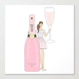 Rose Champagne Fashion Girl Brown Hair Canvas Print
