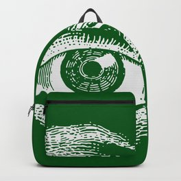 1961 Vintage Eye Drawing Green Backpack