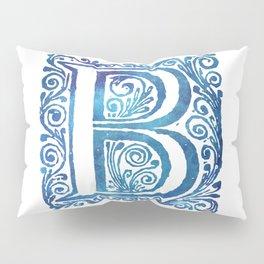 Letter B Antique Floral Letterpress Monogram Pillow Sham