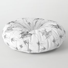 Kingfisher-1a. Black on white background-(Red eyes series) Floor Pillow