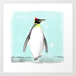 Penguin with hat Art Print