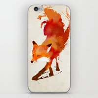 watercolour iPhone & iPod Skins featuring Vulpes vulpes by Robert Farkas
