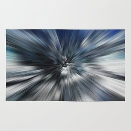 Abstract Black And Blue Starburst Rug