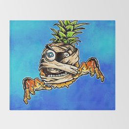 Mummified Pineapple Monster Throw Blanket