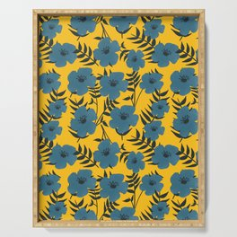 Blue Flowers with Banana Leaves with Yellow Serving Tray