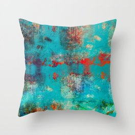 Aztec Turquoise Stone Abstract Texture Design Art Throw Pillow