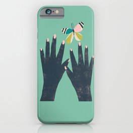 Hands and Butterfly Art iPhone Case