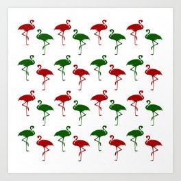 Flamingos Christmas Pattern Red Green Art Print