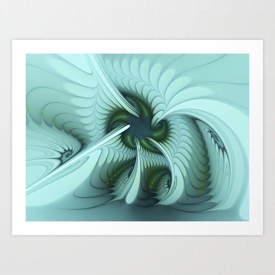 Green Lights in a blue Fantasy Fractal Art Print