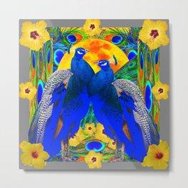 YELLOW HIBISCUS & BLUE PEACOCKS GREY ART Metal Print