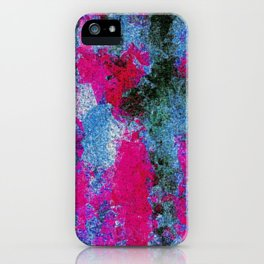 vintage psychedelic painting texture abstract in pink and blue with noise and grain iPhone Case