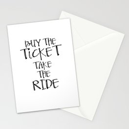 Motivational Art, Poster, Print, Printable Art, Printable Typography, Buy the ticket Stationery Cards