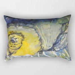 Oceanic Bloom - Mixed Media Beeswax Encaustic Modern Fine Art, 2015 Rectangular Pillow
