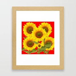 YELLOW-GREEN SUNFLOWERS RED COLOR Framed Art Print