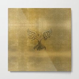 Phoenix Bird Gold Embossed Metal Print