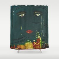 gatsby Shower Curtains featuring Gatsby by Julia Lopez