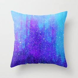 Space Ice Starfield Blue and Purple Throw Pillow