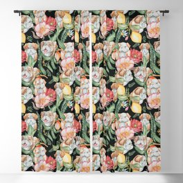 Botanical and English Bulldog Blackout Curtain