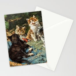 12,000pixel-500dpi - Five Cats In A Basket - Julius Anton Adam Stationery Cards