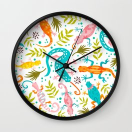 Lizard Party - colorful palette Wall Clock