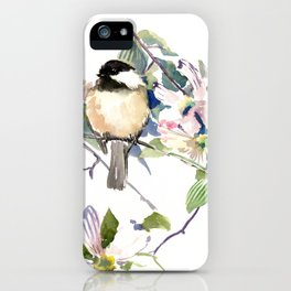 Chickadee and Dogwood Flowers iPhone Case