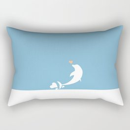Ocean Dolphin Blue Heart Love Rectangular Pillow