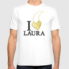 I Love Laura LARGE White Mens Fitted Tee