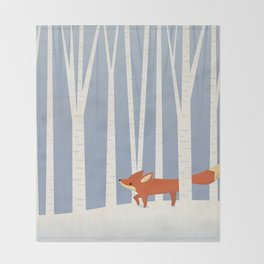 Fox in the Snow Throw Blanket