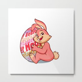 Easter bunny rabbit with pink egg Metal Print