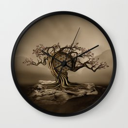Flower of Life Tree Golden Morning Wall Clock