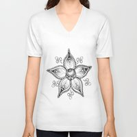 henna V-neck T-shirts featuring Henna Flower by Ava Elise