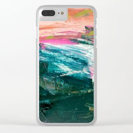 Meditate [4]: a vibrant, colorful abstract piece in bright green, teal, pink, orange, and white Clear iPhone Case