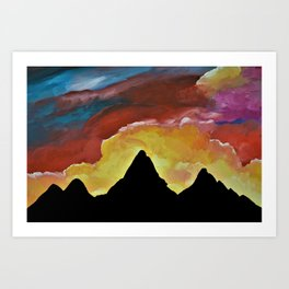 Everest Silhouette - Abstract Sky Oil Painting Art Print