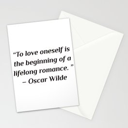 """self care quotes - """"To love oneself is the beginning of a lifelong romance. """" – Oscar Wilde Stationery Cards"""