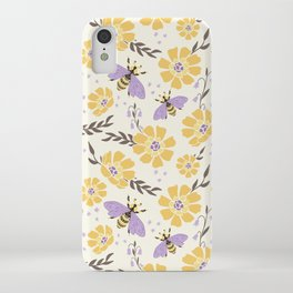 Honey Bees and Flowers - Yellow and Lavender Purple iPhone Case