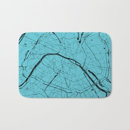 Paris France Minimal Street Map - Turquoise on Black Bath Mat
