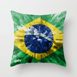 Extruded flag of Brazil Throw Pillow