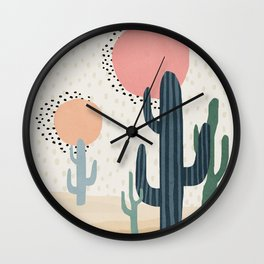 Cacti Desert, Mid century modern kids wall art, Nursery room Wall Clock