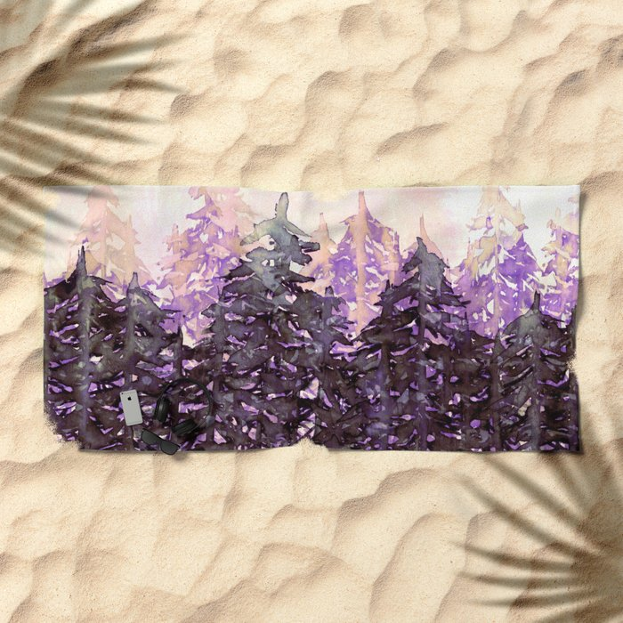 NORTHWEST VIBES Colorful Watercolor Painting Forest Trees Violet Green Modern Nature Art West Coast  Beach Towel