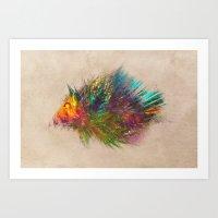 hedgehog Art Prints featuring hedgehog by jbjart