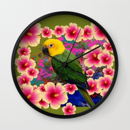 YELLOW HEADED GREEN PARROT PINK HIBISCUS KHAKI FLORAL Wall Clock