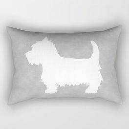 Westie Silhouette On Grey Rectangular Pillow