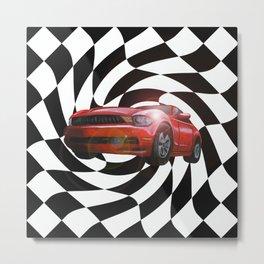 Red Car Victory Lap Metal Print