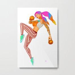 Pin up Alt Model Girls Kettlebell Workout Jump Suicide Pinups Metal Print