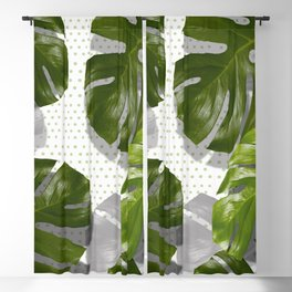 """""""Monstera plant on polka dots and white"""" Blackout Curtain"""