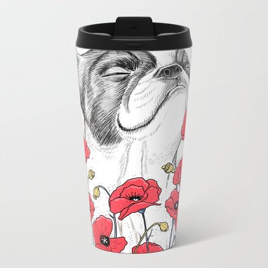 Pug in flowers Metal Travel Mug